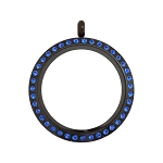 30mm Capri Blue Crystal Twist Black Stainless Steel Floating Locket
